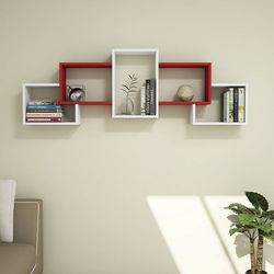 House Line Berril Duvar Rafı - Beyaz/Kırmızı
