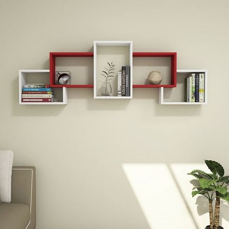 Resim  House Line Berril Duvar Rafı - Beyaz/Kırmızı