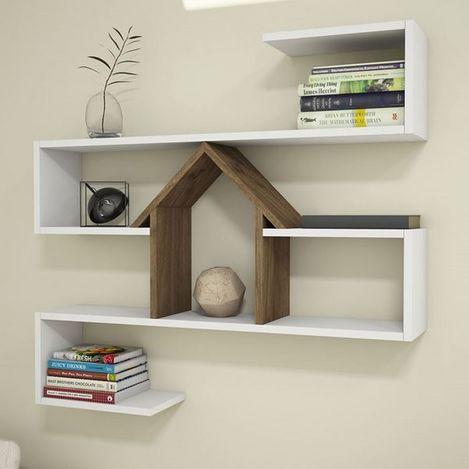 Resim  House Line Nest Duvar Rafı - Beyaz/Ceviz
