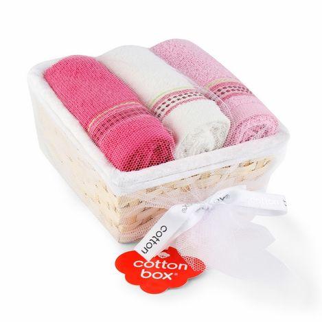 Resim  Cotton Box 3'lü Sepetli Havlu Seti - Ekru/Lila/Fuşya