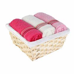 Cotton Box 3'lü Sepetli Havlu Seti - Ekru/Lila/Fuşya