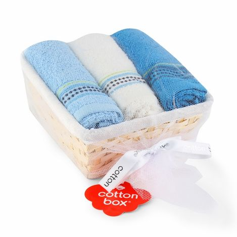Cotton Box 3'lü Sepetli Havlu Seti - Beyaz/Aqua/Royal