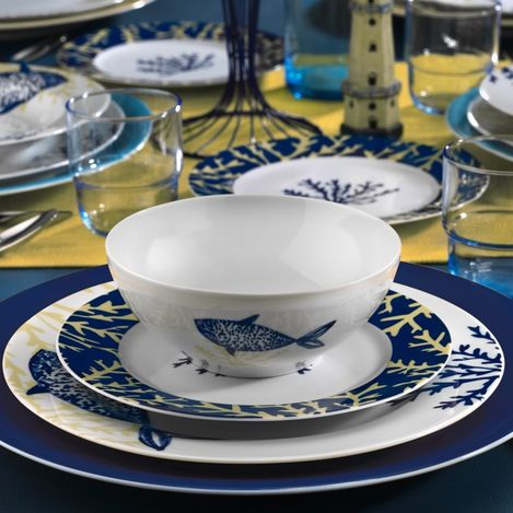 Resim  Kütahya Porselen Marine Serisi 24 Parça 9347 Desen Yemek Seti