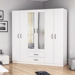 House Line Sei 6 Kapılı 2 Çekmeceli Aynalı Gardırop - Beyaz