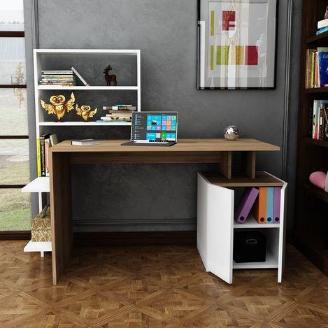 Resim  Arnetti Melis Çalışma Masası - Beyaz/Ceviz