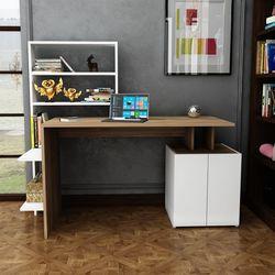 Arnetti Melis Çalışma Masası - Beyaz/Ceviz