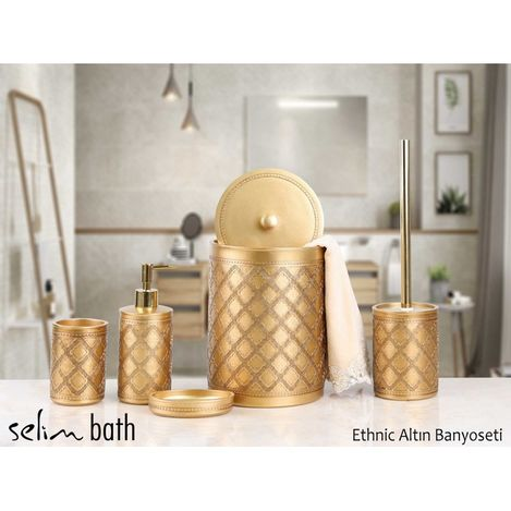 By Selim Ethnic Polyester 5'li Banyo Seti - Altın