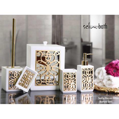BySelim Sofia Polyester 5'li Banyo Seti - Beyaz/Altın