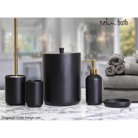 Resim  By Selim Elegance Polyester 5'li Banyo Seti - Siyah