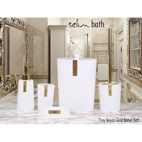 BySelim Troy Polyester 5'li Banyo Seti - Beyaz/Altın
