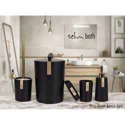 BySelim Troy Polyester 5'li Banyo Seti - Siyah/Altın