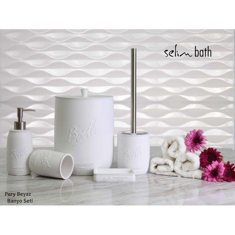 By Selim Pery Polyester 5'li Banyo Seti - Beyaz