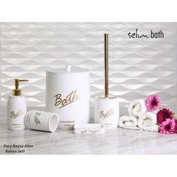 By Selim Pery Polyester 5'li Banyo Seti - Beyaz/Altın