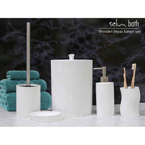 By Selim Wooden Polyester 5'li Banyo Seti - Beyaz