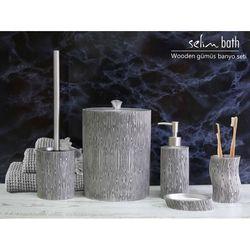 By Selim Wooden Polyester 5'li Banyo Seti - Gümüş