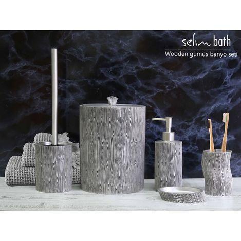 Resim  By Selim Wooden Polyester 5'li Banyo Seti - Gümüş