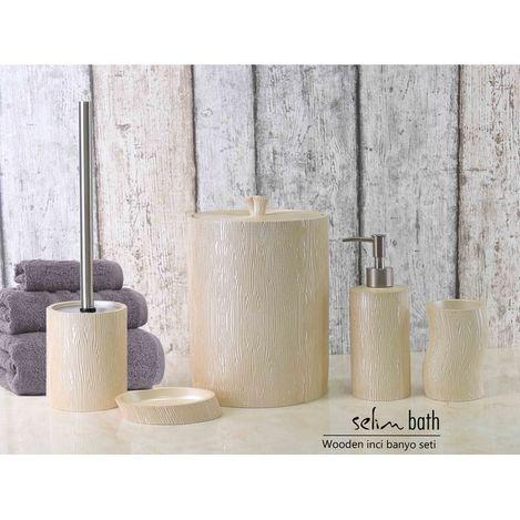 Resim  By Selim Wooden Polyester 5'li Banyo Seti - İnci