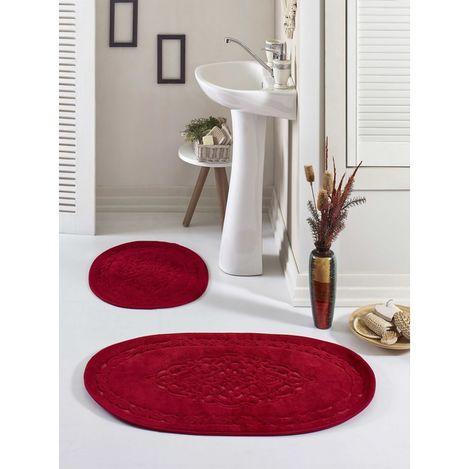 Resim  Eponj Home Osmanlı Oval Pamuklu Banyo Paspas Seti - Kırmızı