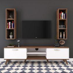Rani A9-323 Duvar Raflı Kitaplıklı Tv Ünitesi - Ceviz / Beyaz