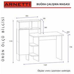 Arnetti Buğra Çalışma Masası - Beyaz/Teak