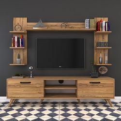 Rani A5 Duvar Raflı Kitaplıklı Duvara Monte Dolaplı Modern Ayaklı Tv Sehpası - Ceviz