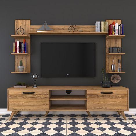 Resim  Rani A5 Duvar Raflı Kitaplıklı Duvara Monte Dolaplı Modern Ayaklı Tv Sehpası - Ceviz