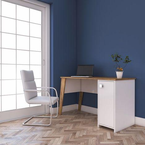 Resim  Rani C2 Dolaplı Çalışma Ve Bilgisayar Masası -Ceviz/Beyaz