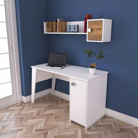 Resim  Rani C2 Kitaplıklı Dolaplı Çalışma Ve Bilgisayar Masası - Beyaz/Ceviz