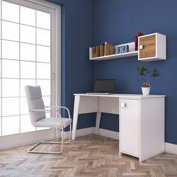 Rani C2 Kitaplıklı Dolaplı Çalışma Ve Bilgisayar Masası - Beyaz/Ceviz