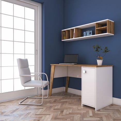 Rani C2 Kitaplıklı Dolaplı Çalışma Ve Bilgisayar Masası - Ceviz/Beyaz