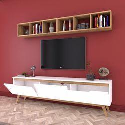 Rani D1 Duvar Raflı Kitaplıklı Duvara Monte Dolaplı Ahşap Ayaklı Tv Sehpası - Beyaz/Ceviz