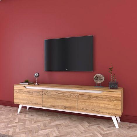 Resim  Rani D1 Ahşap Ayaklı Tv Sehpası - Ceviz/Beyaz