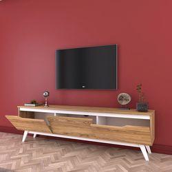 Rani D1 Ahşap Ayaklı Tv Sehpası - Ceviz/Beyaz