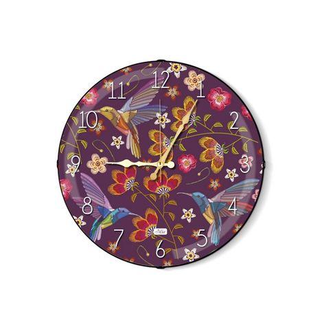 Resim  The Mia Birdy Mor Duvar Saati - 35 cm