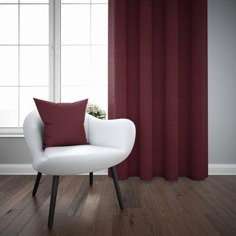 Else Bordo Düz Renk Dekoratif Modern Fon Perde Kırlent Hediyeli -150Cmx270Cm