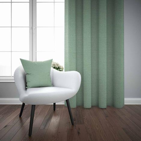 Else Mint Yeşili Düz Renk Dekoratif Modern Fon Perde Kırlent Hediyeli -150Cmx270Cm