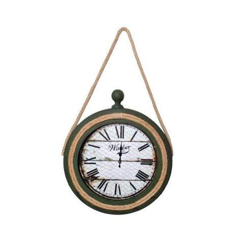Atadan ATD35YS Halatlı Ahşap Dekoratif Saat - Yeşil