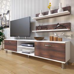 House Line Dekoraktif Tv Ünitesi - Beyaz / Ceviz