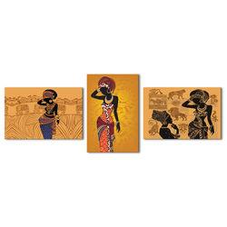 Doku Tablo Afrika 3'lü Kombin Kanvas Tablo