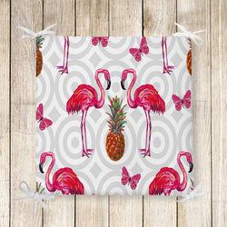Flamingo Desen Dekoratif Kare Sandalye Minderi 40x40cm Fermuarlı