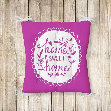 RealHomes Home Sweet Home Pofidik Kare Sandalye Minderi 40x40cm Düğmeli