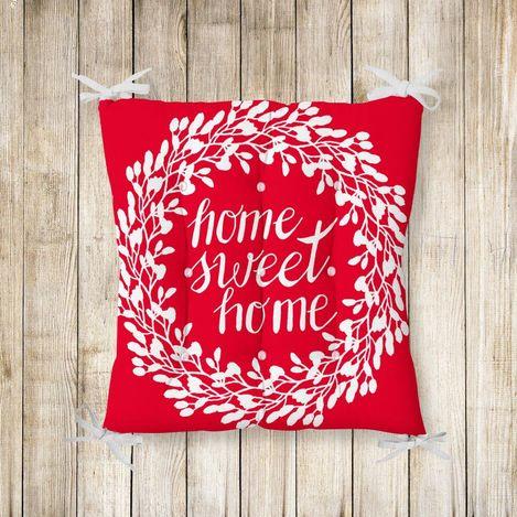 Home Sweet Home Pofidik Kare Sandalye Minderi 40x40cm Düğmeli
