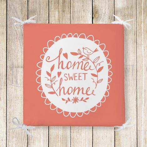 RealHomes Home Sweet Home Dekoratif Kare Sandalye Minderi 40x40cm Fermuarlı