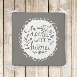 Home Sweet Home Dekoratif Kare Sandalye Minderi 40x40cm Fermuarlı
