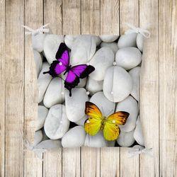 Kelebek Desenli Pofidik Kare Sandalye Minderi 40x40cm Düğmeli