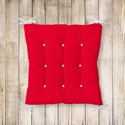 RealHomes Kırmızı Renkli Pofidik Kare Sandalye Minderi 40x40cm Düğmeli
