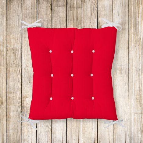 Resim  RealHomes Kırmızı Renkli Pofidik Kare Sandalye Minderi 40x40cm Düğmeli