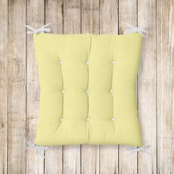 RealHomes Sarı Renkli Pofidik Kare Sandalye Minderi 40x40cm Düğmeli