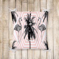 Flamingo Desenli Pofidik Kare Sandalye Minderi 40x40cm Düğmeli