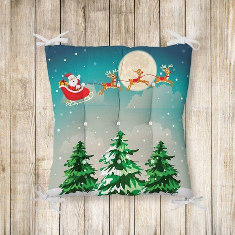 Merry Christmass Pofidik Kare Sandalye Minderi 40x40cm Düğmeli